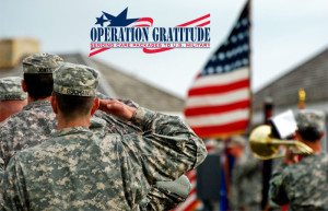 Operation Gratitude Logo on picture of U.S. Military