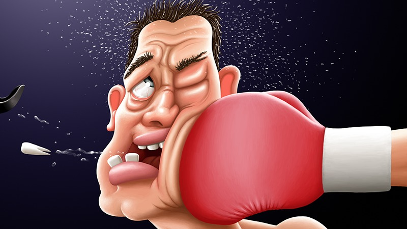 Cartoon Boxer is Punched and Tooth is Knocked-Out
